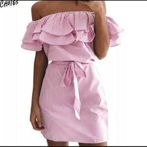 ❤️ 3/$20 Choies Pink White Off Shoulder Dress